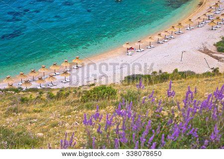 Island Of Krk Beach At Stara Baska Aerial View, Archipelago Of Kvrner, Croatia