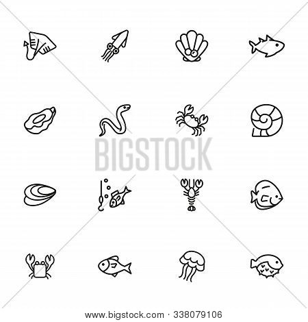 Underwater Life Line Icon Set. Fish, Crab, Eel. Nature Concept. Can Be Used For Topics Like Fishing,