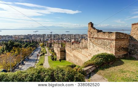 Panoramic View Of Thessaloniki And The Ruins Of The Medieval Fortification, Mount Olympus In The Bac