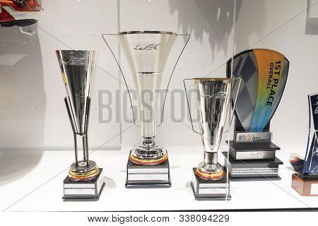 Trophies That Fernando Alonso Won In The 2018-2019 Wec World Endurance Championship. Photo Taken At