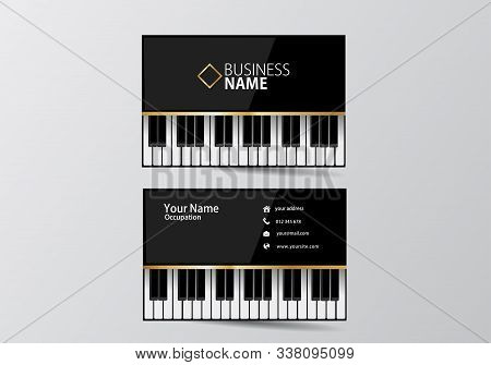 Piano Business Card. Musician Visiting Card Template