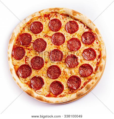 Pizza Isolate, Medium Size, Top View. Stock Photo Of Pizza.
