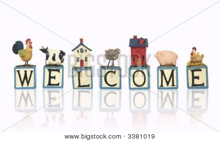 Farm Welcome Sign Over White