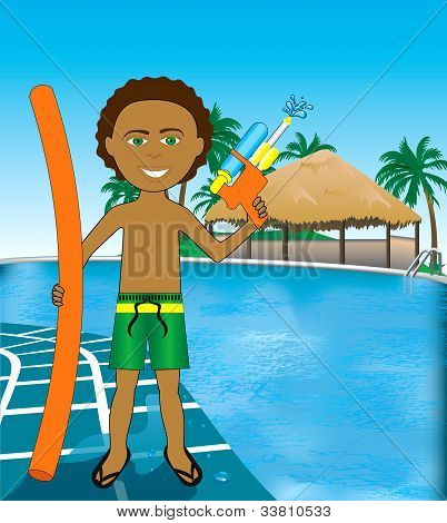 Pool Mixed Afro Boy