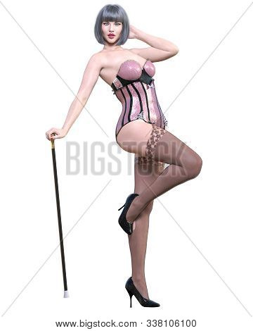Tall Sexy Woman Corset And Stockings Garters.burlesque Show.girl Cane.retro Style.girl Magnificent V