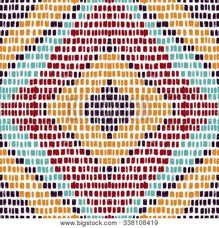 Ocean Geometric Tribal. Surf Batik Vector Seamless Pattern. Aztec Batik Retro Design. Cobalt Traditi