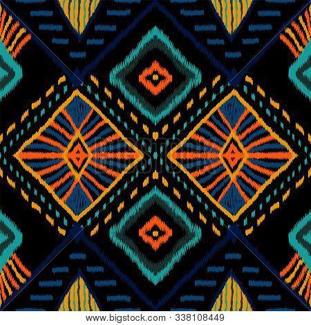 Coral Retro Tie Dye. Indigo Carpet Vector Seamless Pattern. Indonesian Carpet Boho Texture. Crimson