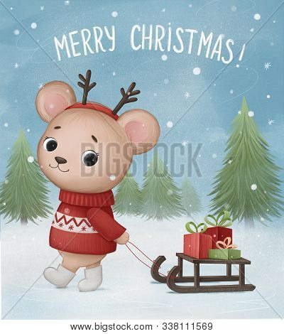 Little Bear Carries A Sleigh With Christmas Gifts. Hand Drawn Illustration