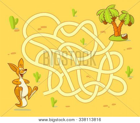 Help Kangaroo Cub Find Path To Palm. Labyrinth. Maze Game For Kids
