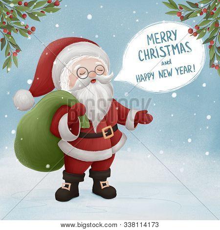 Santa Claus Wishes Merry Christmas. Hand Drawn Illustration