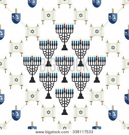 Illustration On Theme Big Colored Pattern Hanukkah, Seamless Set Menorah. Seamless Pattern Consistin