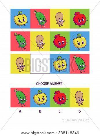 Cute Pepper, Cucumber, Peanut, Pomegranate . Logic Game For Children Preschool Worksheet Activity Fo