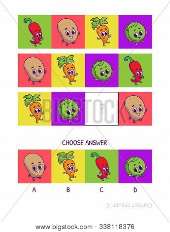 Cute Chili Peppers, Potato, Carrot, Brussels Sprouts. Logic Game For Children Preschool Worksheet Ac