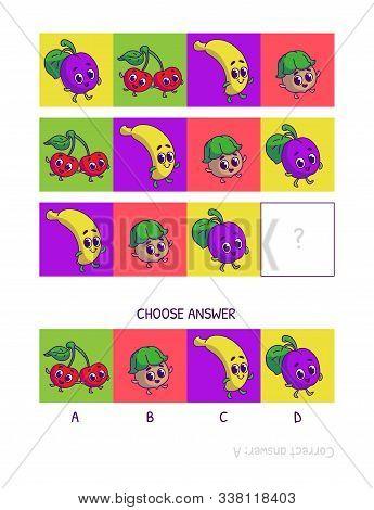 Cute Plum, Cherry, Banana, Nut. Logic Game For Children Preschool Worksheet Activity For Kids, Task