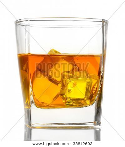 Glass of scotch whiskey and ice isolated on white