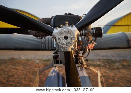 Air Propeller Of The Ultralight Aircraft Standing On Airfield, Close-up.