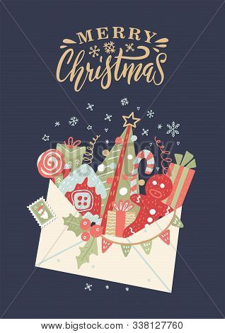Letter To Santa Claus. Christmas Card With Open Envelope With Box Gift, Bow, Candy Cane, Xmas Tree O
