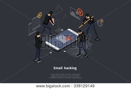Isometric Email Hacking Concept. Hacked Login And Password. Network And Internet Security. Anti Viru