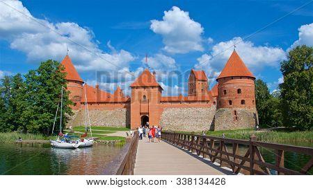 Trakai, Lithuania - August 2019: Tourists Visiting Trakai Island Castle On Lake Galve In Trakai, Lit