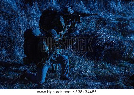 Border Guards, Army Soldiers At Night Patrol