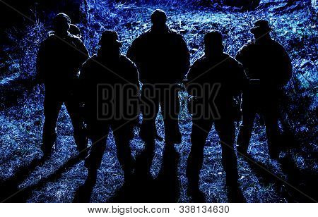 Commandos Soldiers Group Going On Night Patrol