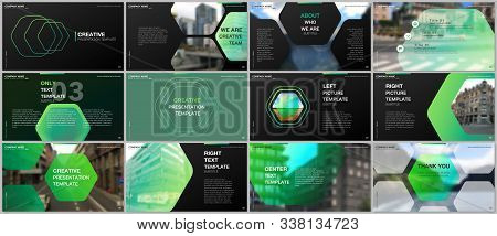 Minimal Presentations Design, Portfolio Vector Templates With Hexagonal Design Green Color Pattern B