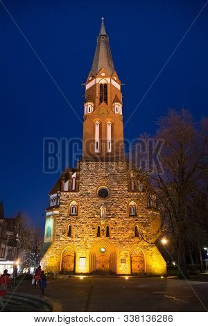 Sopot, Poland - December 20, 2017: View Of In The Garrison Church Of St George In Sopot. Designed By
