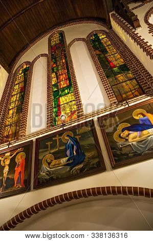 Sopot, Poland - December 20, 2017: Interior Of The Garrison Church Of St. George In Sopot. The Minim