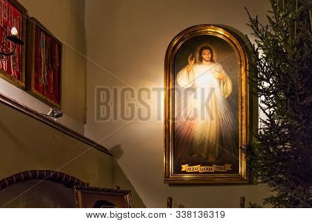 Sopot, Poland - December 20, 2017: The Venerated Image Of Jesus Christ And Divine Mercy In The Garri