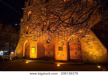 Sopot, Poland - December 20, 2017: Entrance To The Garrison Church Of St George In Sopot. Designed B