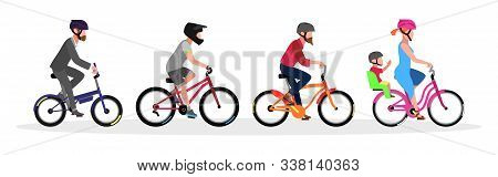 Businessman, Guys, Woman With Child In Helmets Riding Different Types And Color Of Bicycles Folding,