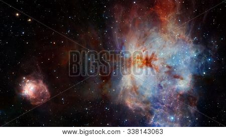 Sparkle Shinny Blue Star Particle Motion On Black Background, Starlight Nebula In Galaxy At Universe