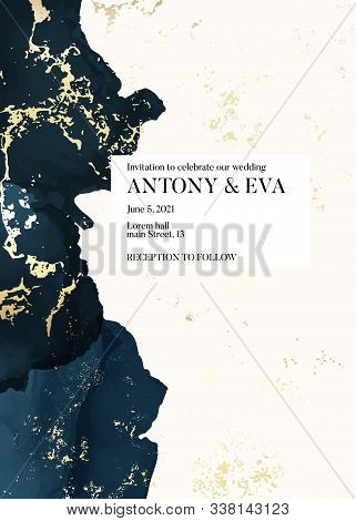 Wedding Navy Gold Invitation Cards With Luxury Golden And Indigo Navy Marble Texture Background, Tre