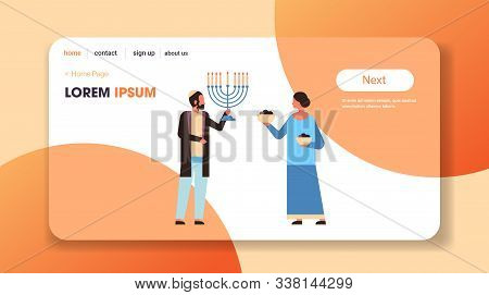 Jews Couple Holding Menorah Jewish Man Woman In Traditional Clothes Standing Together Happy Hanukkah