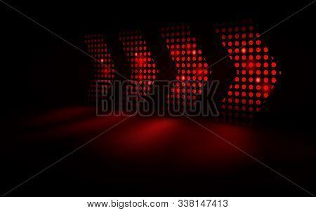 Abstract Red Light Arrows Speed Futuristic On Dark Background. Vector Illustration
