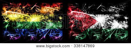 Gay Pride Vs Jordan, Jordanian New Year Celebration Sparkling Fireworks Flags Concept Background. Ab
