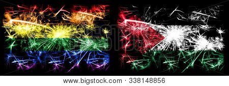 Gay Pride Vs Palestine, Palestinian New Year Celebration Sparkling Fireworks Flags Concept Backgroun