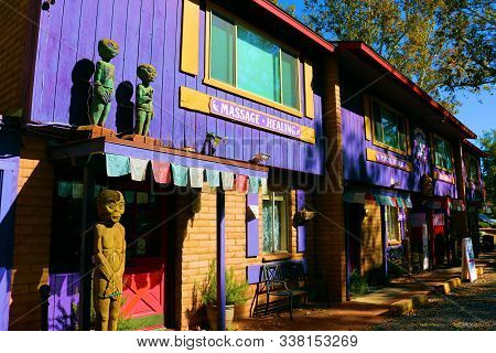 October 18, 2019 In Sedona, Az:  Center For The New Age Metaphysical Store With A Decorative Purple