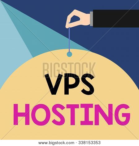 Writing note showing Vps Hosting. Business photo showcasing mimics a dedicated server within a shared hosting environment Male hand arm needle punching big blank balloon geometrical background. poster