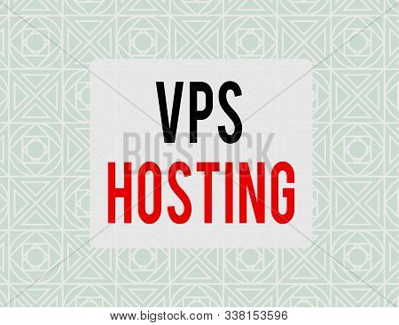 Writing note showing Vps Hosting. Business photo showcasing mimics a dedicated server within a shared hosting environment Endless Geometric Outline Tiles Pattern in Line against Blue Background. poster