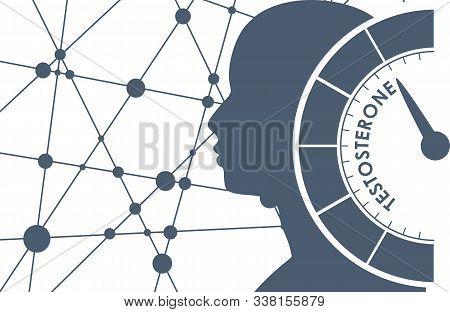 Hormone Testosterone Level Measuring Scale. Health Care Concept Illustration. Head Of Man Silhouette