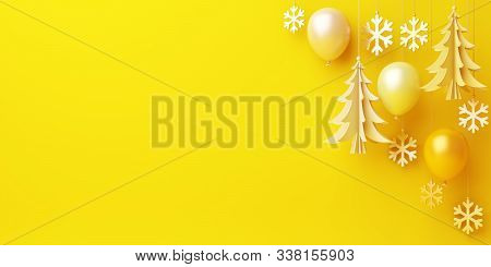Happy New Year Background 2020, Winter Banner, Winter Abstract, Balloon, Pine, Spruce, Fir Tree Art