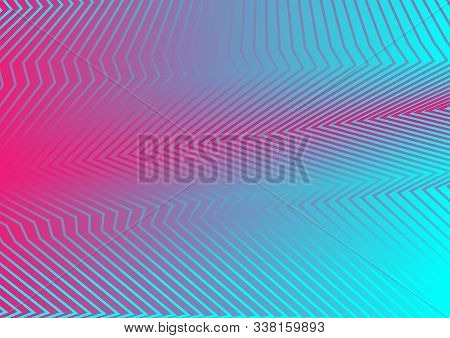 Pink And Blue Abstract Curved Refracted Lines Holographic Background. Vector Design