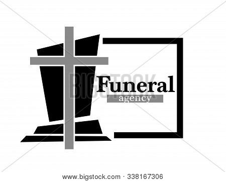Funeral Agency Logo With Headstone And Cross In Black Frame