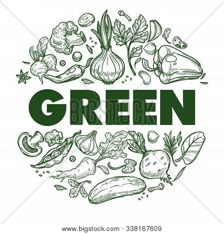 Green Vegetables Banner With Hand Drawn Icons Set In Circle