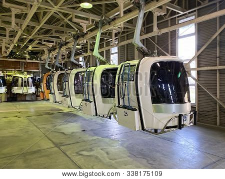 Hakuba Japan - 6 Nov 2019: Gondola Lift Car In A Row Ready To Service At Iwatake Gondola Lift In Hak