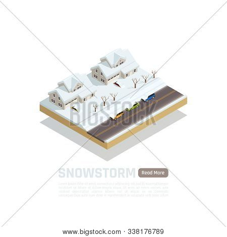 Natural Disaster Isometric Isolated Composition With Snowstorm In The City Description And Read More
