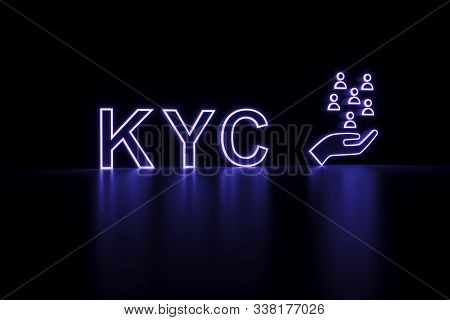 Kyc Neon Concept Self Illumination Background 3d Illustration