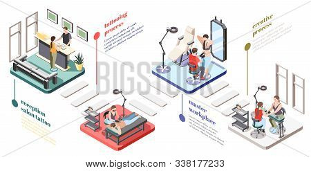 Tattoo Studio Isometric Flowchart With Reception Master Workplace Equipment Client Choosing Design S