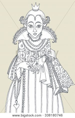 Elegant Woman Queen, Hand Drawn Bw Illustration